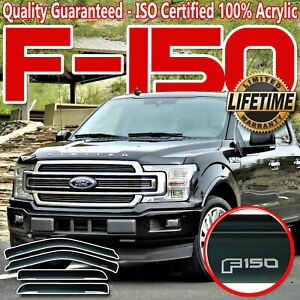 Fits F150 15 20 Super Crew Side Window Deflectors Shades Vent Visors With Logo