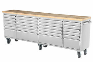 96 Mechanic Mobile Tool Chest Sturdy Wood Workbench Tool Trolley Rolling Box