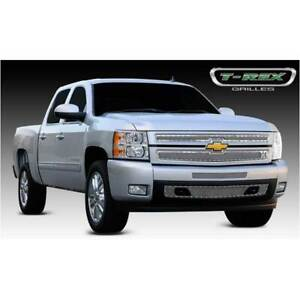 T rex Polished X metal Series 2pc Main Grille For Chevrolet Silverado 1500 07 13