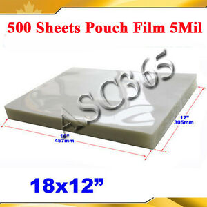 Pouch Laminating Film 12x18 500sheets Menu Size 5mil For Thermal Hot Laminator