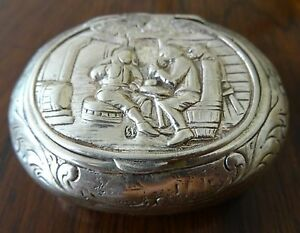 19th Century German 13 Loth 0 812 Continental Silver Snuff Box W Hinged Lid