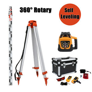Automatic 500m Range Red Beam Self leveling Rotary Laser Level Tripod Staff