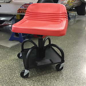 Adjustable Garage Creeper Seat W Magnetic Tool Tray Red Cushion Seat Hrasred