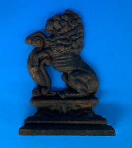 C 1795 Bookend Lion Antique Cast Iron Door Stop Collectible Folk Art Primitive