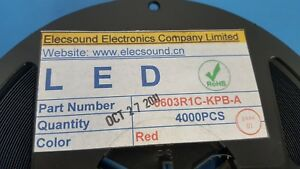 Led Red Smd Elecsound 0603r1c kpb a 620 635nm One Reel Of 4000 Pcs