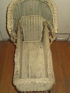 Lloyd S Loom Products Beige Wicker Baby Stroller October 16 1917 Vintage