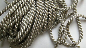 Vintage Silver Metallic Rope Cording Two Strand French