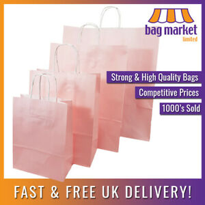 Strong Light Pink Twisted Handle Paper Bags Kraft gift fashion shop carrier