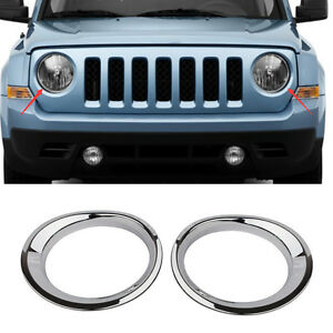 Abs Chrome Front Head Lights Lamp Frame Cover Trim For 2011 2017 Jeep Patriot