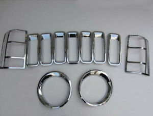 Chrome Front Grille Around Trim Head Tail Light Lamp Cover Set For Jeep Patriot