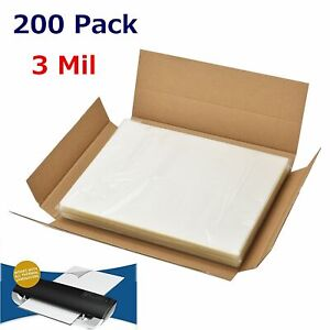 3 Mil Letter Size Thermal Laminator Laminating Pouches 200 Qty 9 X 11 5 Sheets