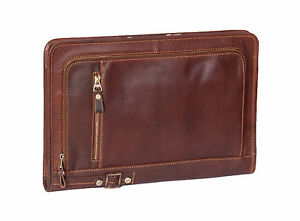 A4 Leather Folder Zip Around Underarm Mens Folio Tablet File Documents Bag Brown