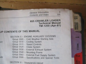 John Deere 655 Crawler Loader Technical Manual Tm 1250