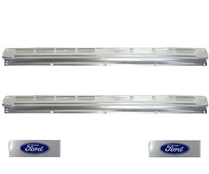 1965 66 67 68 Ford Mustang Convertible Door Sill Scuff Plates Pair W ford Decals