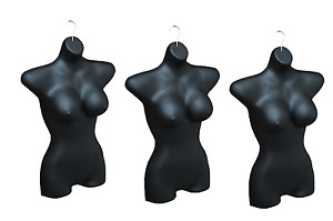 Lot 3x Large Bust Ladies Torso Mannequin Woman Female Hanging Body Form Black