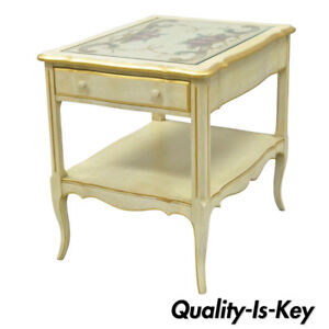 Vintage French Country Provincial Style Floral Painted Cream 1 Drawer End Table