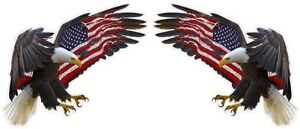 American Eagle American Flag Huge Pair Decals 48 Each Free Shipping