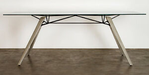 Nuevo 78 Or 94 Clear Glass Conference Table With Concrete Base