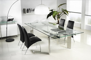 Casabianca 78 106 Modern Glass Conference Table With Angled Chrome Legs