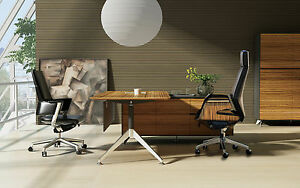 Unique Modern Zebrano Wood L shaped Executive Desk With Storage