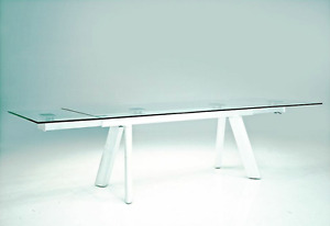 Mobital Modern Glass Conference Table With High Gloss White Base extends Fro