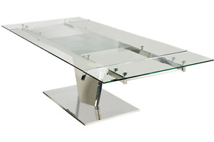Casabianca Polished Stainless Steel Glass Desk Or Conference Table extends