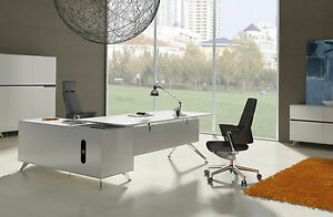 Unique Modern White Lacquer L shaped Executive Desk With Storage