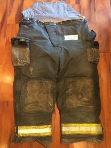Firefighter Turnout Bunker Pants Cairns 46x28 Black Bib Halloween Costume
