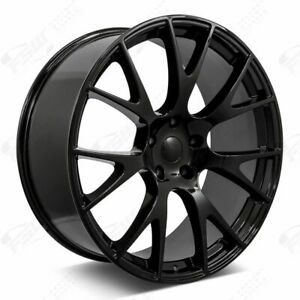 22 Hellcat Style Staggered Wheels Gloss Black Fits Dodge Charger Challenger 300