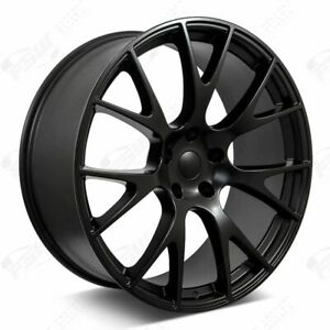 22 Hellcat Style Wheels Satin Black Staggered Fits Dodge Charger Challenger
