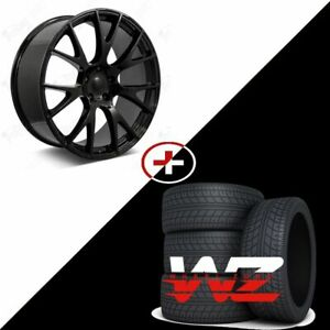 22 Hellcat Style Staggered Wheels Gloss Black W Tires Fits Dodge Magnum Charger