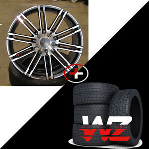 22 R1506 Style Machined Gunmetal Wheels W Tires Fits Porsche Cayenne