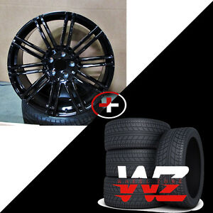 22 R1506 Style Gloss Black Wheels W Tires Fits Porsche Cayenne
