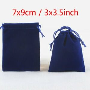 200x Blue Velvet Drawstring Square Jewelry Packaging Pouches Gift Bags 3 X 3 5