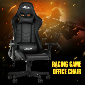 High Back Recliner Racing Game Office Chair Ergonomic Leather Swivel Chair Black