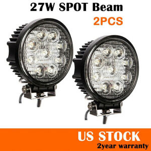2pcs 5inch 27w Led Work Light For 4 X 4 Atv Offroad Boat Lamp Fog Driving Round