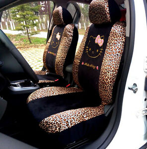 10pc Hello Kitty Leopard Print Universal Interior Car Seat Cover Set