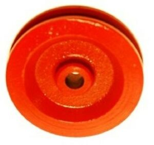 2 Red Painted Cast Iron Wire Rope Cable Pulley Sheaves 3 1 2 Diameter
