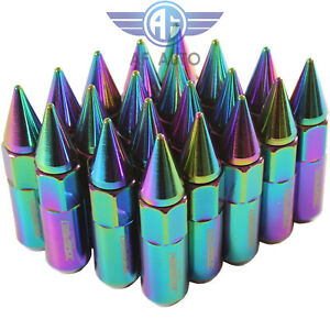20pcs Neo Chrome M12x1 5 60mm Cap Spiked Extended Tuner Aluminum Wheel Lug Nuts
