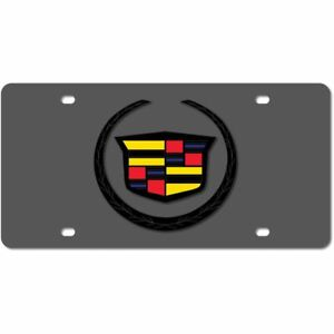 Stainless Steel Black Cadillac Black Logo Color License Plate Frame 3d Novelty