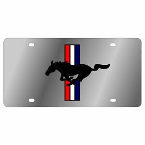 Stainless Steel Ford Mustang Retro Black Red White Blue License Plate Frame
