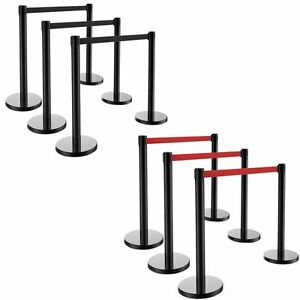 6pcs Retractable Belt Stanchion 3 Sets Red Black Belt Crowd Control Barrier