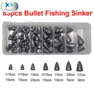 83pcs Lead Sinker Fishing Sinker Bullets Fishing Sinker Worm Weight Sinker Kit