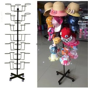 Commercial Retail Hat Rack Rotating Display Hat Stand Holds 35 Hats Capacity