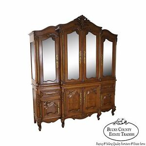 Bau Furniture French Louis Xv Style Lighted Breakfront Cabinet