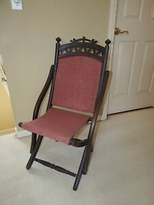 Antique Circa 1890 S Victorian Carved Wood Folding Covered Wagon Chair