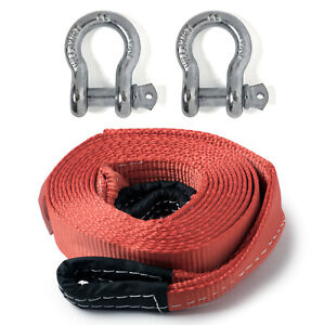 2 20 000lbs Tow Strap 20 Ft W Bow Shackles Winch Sling Snatch Vehicle Recovery
