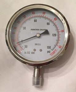 Pic Ammonia Refrigeration Gauge 401dfw 404cf Dry fillable Bottom Mount 150 Psi