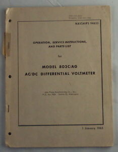 Fluke 803c ag Ac dc Differential Voltmeter Operating And Service Manual
