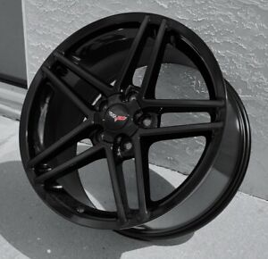 Gloss Black C6 Z06 Style Corvette Wheels 18 19 Set 2005 2013 C6 1997 2004 C5zo6